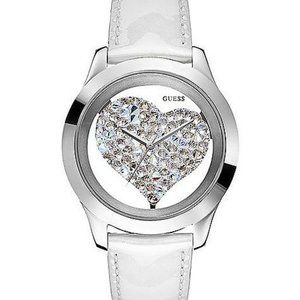 NWT Guess Silver Crystal Heart White Leather Watch